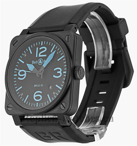 Bell and Ross Black Rubber Strap BR03-92 Carbon