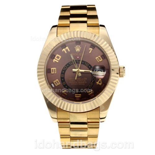 Rolex Sky Dweller Swiss ETA 2836 Movement Full Yellow Gold with Coffee Dial-Sapphire Glass 195250