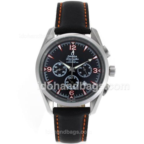 Omega Seamaster Working Chronograph with Black Dial-Leather Strap 61224