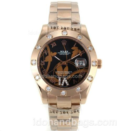 Rolex Datejust II Automatic Full Rose Gold Diamond Bezel Roman Markers with Black Dial-Flowers Illustration 111622