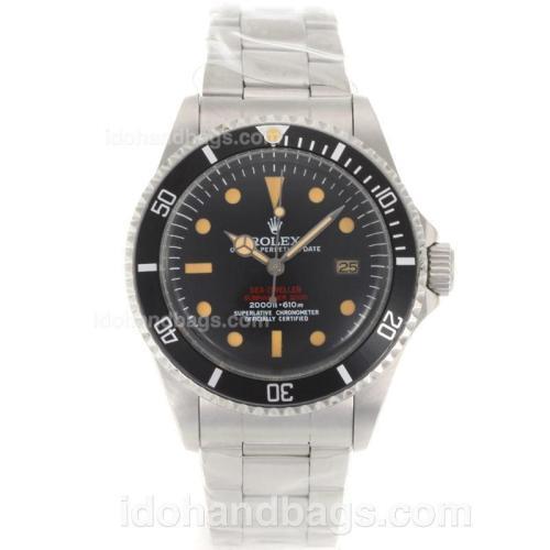 Rolex Sea-Dweller Submariner 2000 Swiss ETA 2836 Movement Orange Markers with Black Dial S/S-Vintage Edition 118204