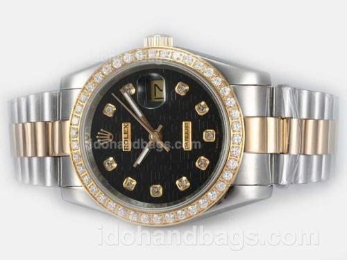 Rolex Datejust Automatic Two Tone Diamond Bezel and Marking with Black Computer Dial 20191