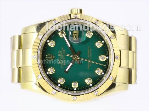 Rolex Datejust Automatic Full Gold Diamond Marking with Green Dial 23381