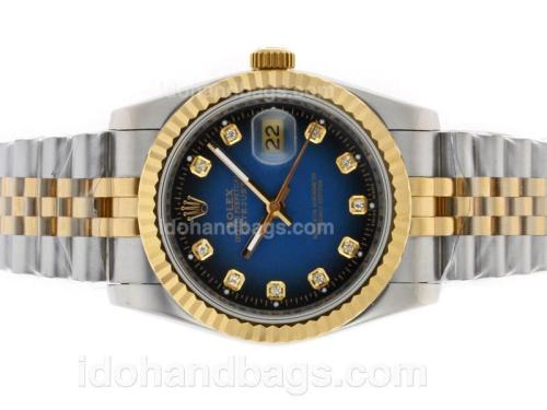 Rolex Datejust Automatic Two Tone Diamond Marking with Blue Dial 11685