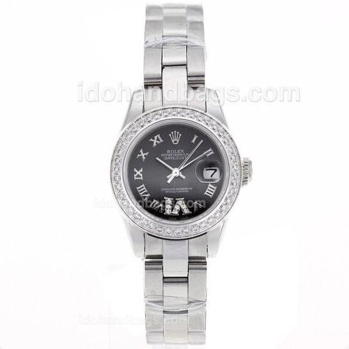 Rolex Datejust Swiss ETA 2671 Movement Diamond Bezel Roman Markers with Black Dial S/S-Lady Size 72109