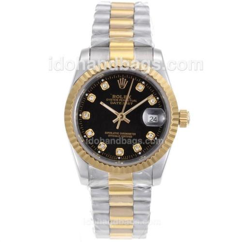 Rolex Datejust Automatic Two Tone Diamond Marking with Black Dial-Sapphire Glass 72731