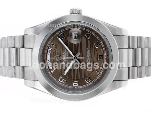 Rolex Day-Date II Automatic Number Markers with Brown Wave Dial 45279