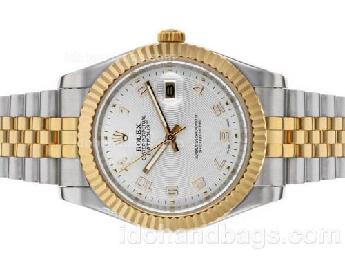 Rolex Datejust II Automatic Two Tone Number Markers with Silver Dial 48526
