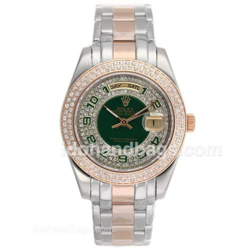 Rolex Masterpiece II Automatic Two Tone Diamond Bezel with Green Number Markers and Dial 52827
