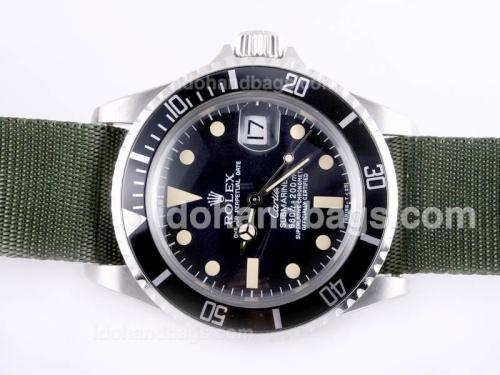 Rolex Submariner Automatic with Black Bezel and Dial Vintage Version-Green Nylon Strap 23291