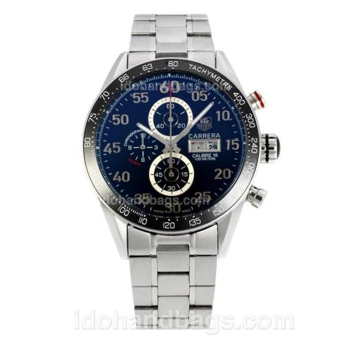 Tag Heuer Carrera Calibre 16 Day Date Working Chronograph Ceramic Bezel with Black Checkered Dial S/S 149054