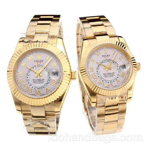 Rolex Sky Dweller Automatic Full Yellow Gold with Silver Dial 203154