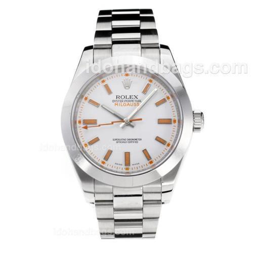 Rolex Milgauss Swiss ETA 3131 Movement with Super Luminous White Dial S/S-Sapphire Glass 187054