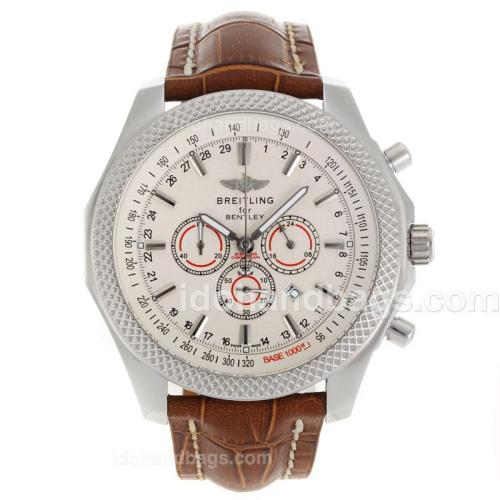 Breitling for Bentley Working Chronograph with White Dial-Blue Leather Strap 118142