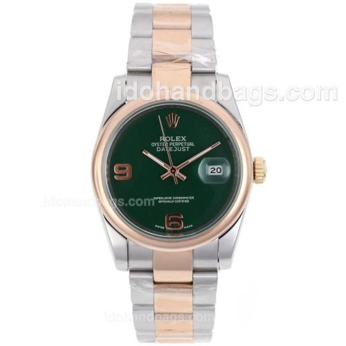 Rolex Datejust Automatic Two Tone With Green Dial 80469