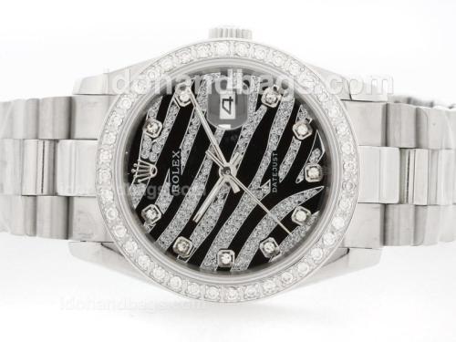 Rolex Datejust Automatic Black Diamond Crested Dial with Diamond Bezel & Marking 34457