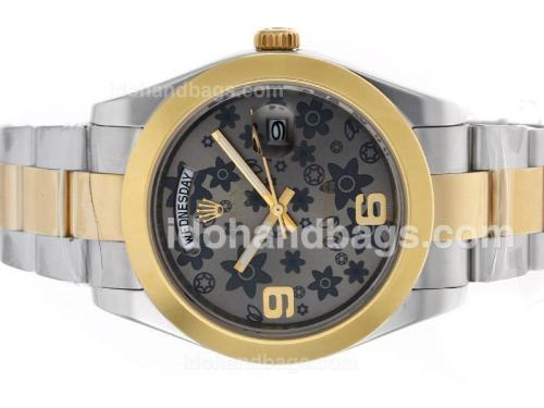 Rolex Day-Date II Automatic Two Tone with Gray Floral Motif Dial 45289