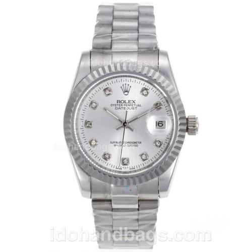 Rolex Datejust Automatic Diamond Marking with Silver Dial-Sapphire Glass 72729