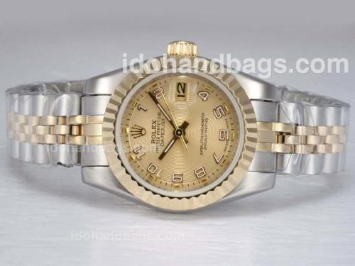 Rolex Datejust Automatic Two Tone with Golden Dial-Number Marking 11884