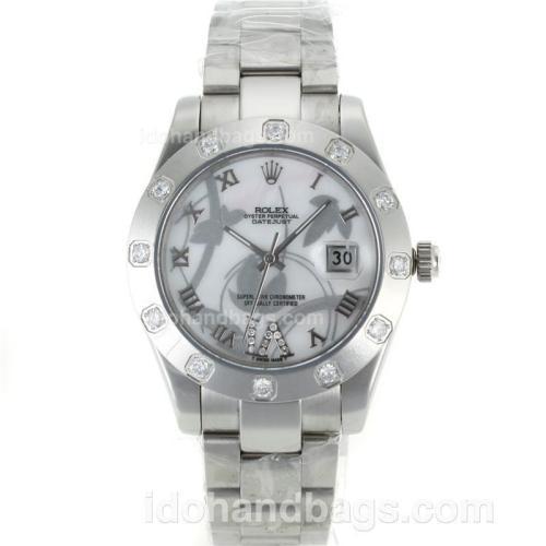 Rolex Datejust II Automatic Diamond Bezel Roman Markers with MOP Dial-Flowers Illustration 111618