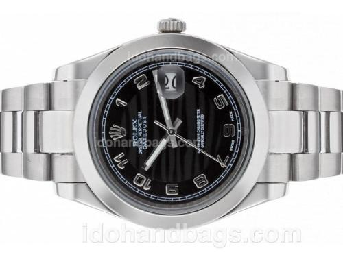 Rolex Datejust II Automatic Number Markers with Black Wave Dial S/S 48502