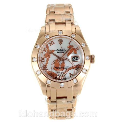 Rolex Masterpiece Swiss ETA 2671 Movement Full Rose Gold Diamond Bezel Roman Markers with MOP Dial-Flowers Illustration 115620