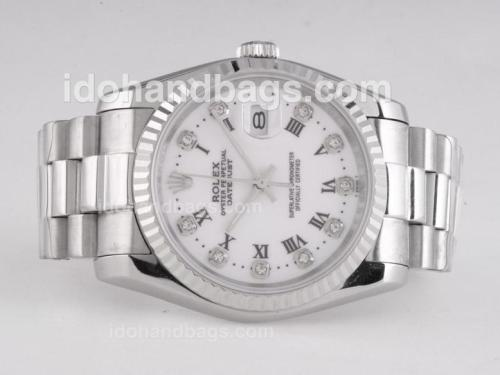 Rolex Datejust Automatic Diamond/Roman Marking with White Dial 25982