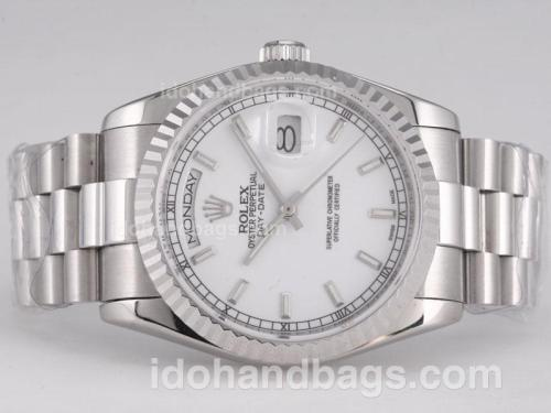 Rolex Day-Date Swiss ETA 2836 Movement with White Dial-Stick Marking 27940