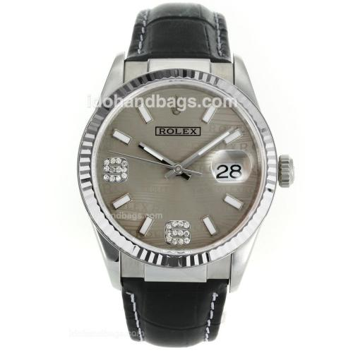 Rolex Datejust Swiss ETA 2836 Movement with Gray Watermark Dial-Leather Strap 112338