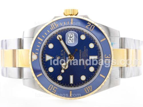 Rolex Submariner Automatic 18K Gold Plated Two Tone with Blue Dial-Blue Ceramic Bezel 35051