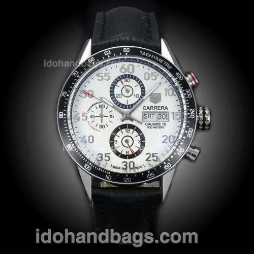 Tag Heuer Carrera Calibre 16 Automatic with White Dial-Leather Strap(Gift Box is Included) 171156