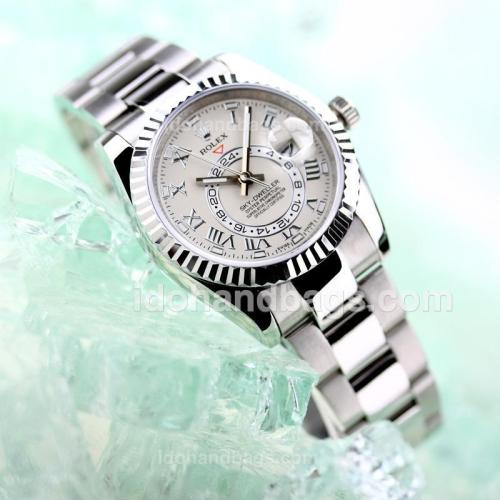 Rolex Sky Dweller Automatic with White Dial S/S-2012 New Style(Gift Box is Included) 161806