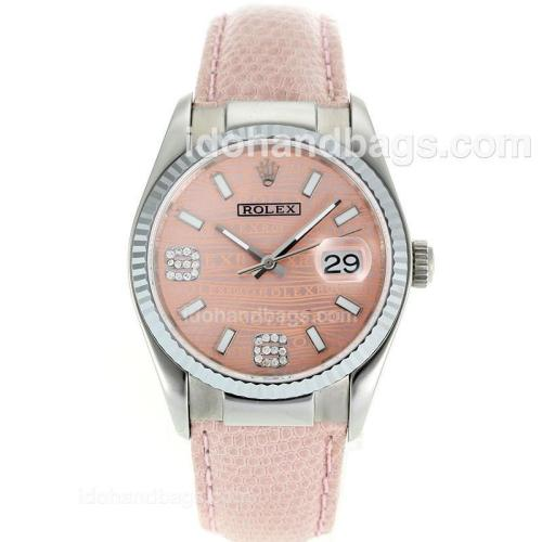 Rolex Datejust Swiss ETA 2836 Movement with Pink Watermark Dial-Leather Strap 112342