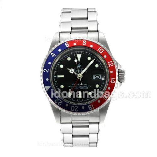 Rolex GMT-Master Swiss ETA 2836 Movement Vintage Edition with Black Dial S/S-Rivet Strap 126792
