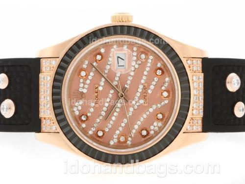 Rolex Datejust Automatic Rose Gold Case Diamond Marking with Black Ruby Bezel-Brown Diamond Crested Dial 36644