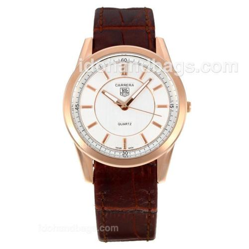 Tag Heuer Carrera Rose Gold Case with White Dial-Brown Leather Strap 172982