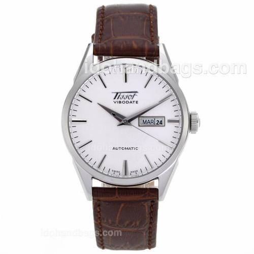 Tissot ViboDate Automatic Silver Markers with White Dial-Leather Strap 64265