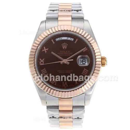 Rolex Day-Date II Swiss ETA 2836 Movement Two Tone Roman Markers with Brown Dial 62533