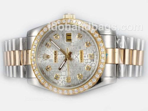 Rolex Datejust Automatic Two Tone Diamond Bezel and Marking with Silver Computer Dial 20192