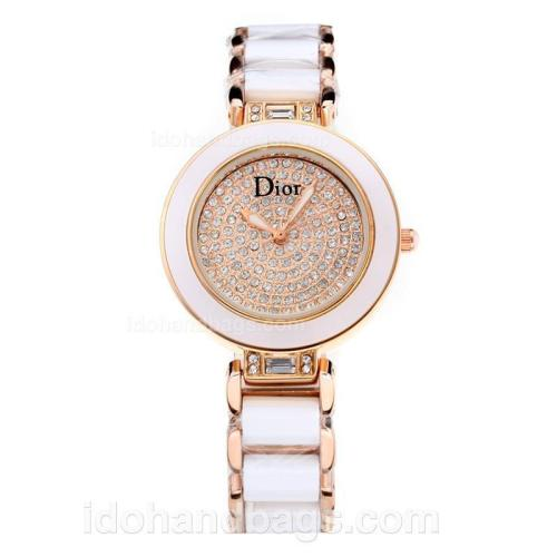 Dior Chrystal Ladies Watch Rose Gold Case Ceramic Bezel with Champagne Diamond Dial 178078
