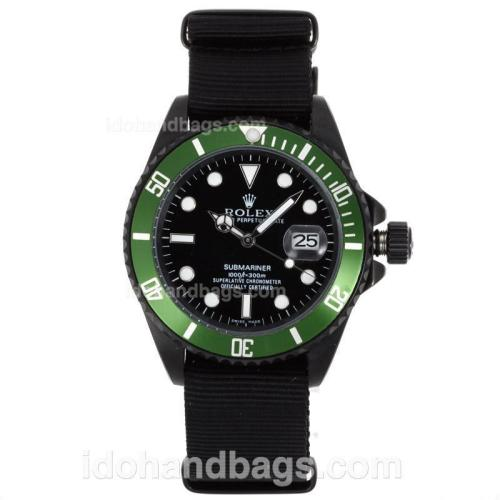 Rolex Submariner Automatic PVD Case Green Bezel with Black Dial-Nylon Strap 55867