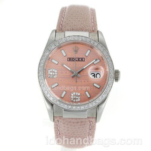 Rolex Datejust Swiss ETA 2836 Movement Diamond Bezel with Pink Watermark Dial-Leather Strap 112346