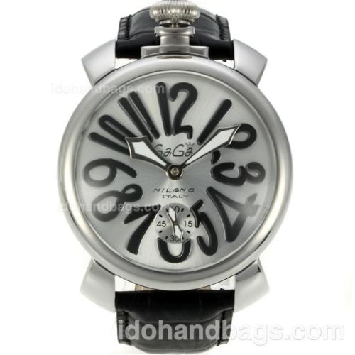 Gaga Milano Unitas 6497 Movement Number Markers with Silver Dial-Leather Strap 126074
