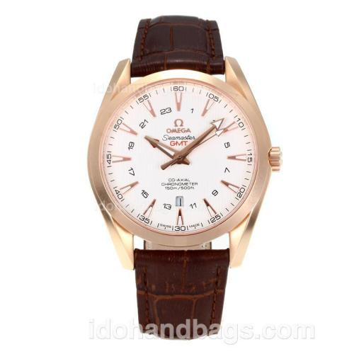 Omega Seamaster Working GMT Swiss ETA 2836 Automatic Rose Gold Case with White Dial-Sapphire Glass 171468