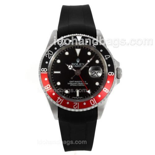 Rolex GMT-Master II Swiss ETA 2836 Movement Black/Red Bezel with Black Dial-Rubber Strap 130498