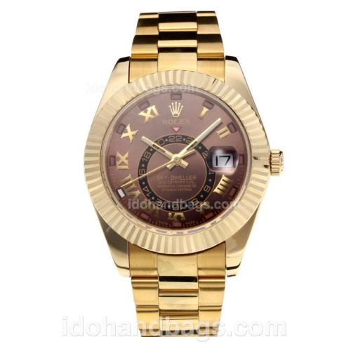 Rolex Sky Dweller Automatic Full Yellow Gold with Coffee Dial-Same Chassis as the Swiss Version 195256