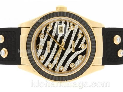 Rolex Datejust Automatic Gold Case Diamond Marking with Black Ruby Bezel-Royal Black Design Diamond Crested Dial 36661