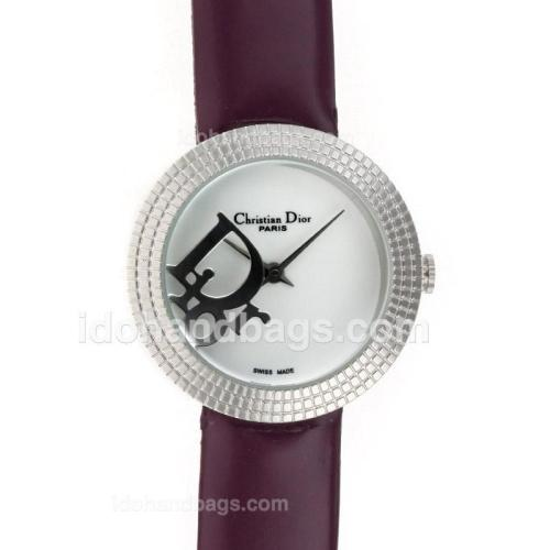 Dior Classic White Dial with Leather Strap-Lady Size 49393