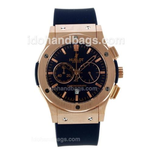 Hublot Big Bang Working Chronograph Rose Gold Case with Blue Dial-Blue Rubber Strap 127564
