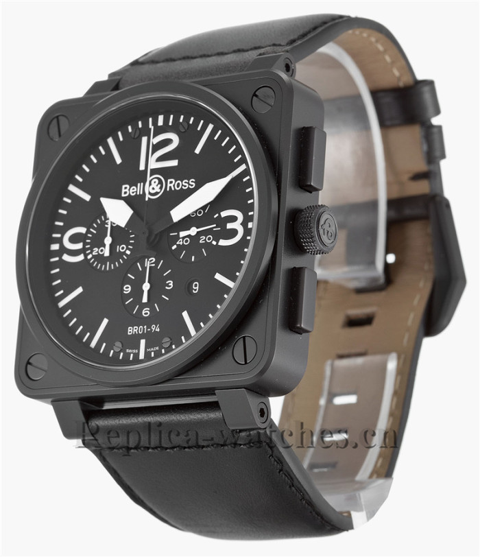 Bell and Ross Black Rubber Strap BR01-94 Chronograph Carbon